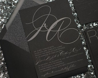 Foil  - Black on Black Glitter Modern Wedding Invitations - SAMPLE (Jessica)