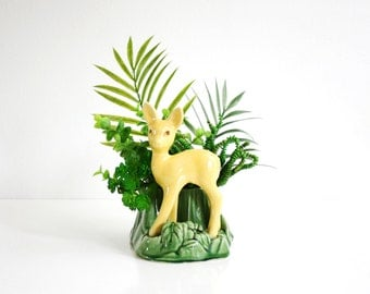 Mid Century Shawnee Deer Planter / Vintage Green and Yellow Fawn Plant Pot