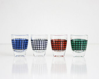Mid Century Modern Houndstooth Shot Glasses / Colorful Vintage Barware