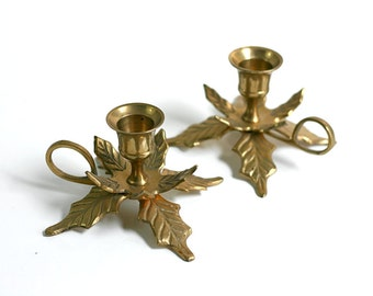 Vintage Golden Leaves Solid Brass Candle Holders