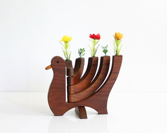 Vintage Danish Modern Wood Bird Candle Holder / Mid Century Modern Wooden Bird Candelabra