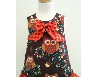 Girls  Owl Dress, Owl A line Dress, Owl Outfit, Baby Owl Dress, Fall Baby Dress, Girl Thanksgiving Dress, 1st Birthday Owl Dress, Owl Jumper