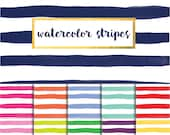 New! Watercolor Stripes Digital Paper Pack (Instant Download)