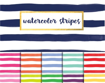 Buy2Get1Free with Code XMASINJULY! Watercolor Stripes Digital Paper Pack (Instant Download)