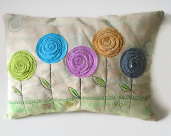 Appliqued Flower Pillow, Accent Pillow, Throw Pillow,  Spring Summer Pillow, Free-Motion, Multi Colored Flowers, Gift for Gardener