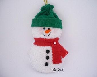 Snowman, Felt Christmas Ornament - Felt Snowman Ornament Holiday Decoration