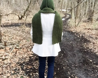 Green hooded scarf, crochet hooded scarf, crochet scoodie, forest green scarf, green long scarf, long hooded scarf, green crochet scarf
