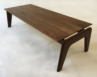 Modern Contemporary Coffee Table - Clean - Sleek Design in Solid Walnut