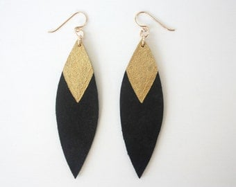Painted Leather Leaf Earrings - Black Leather and Gold with 14k Gold-Fill