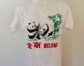 Vintage CHINA T-Shirt Beijing panda bears size Large