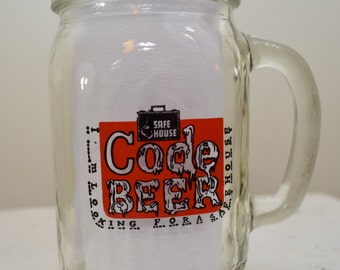 Vintage SAFE HOUSE Code Beer Pint Beer Glass Spy's Demise milwaukee wisconsin