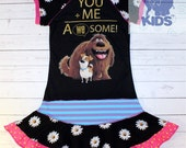 You + me  a dress made out of authentic Secret life of pets tshirt cool funky recycled upcycled  pieced  size 6(other sizes also available )