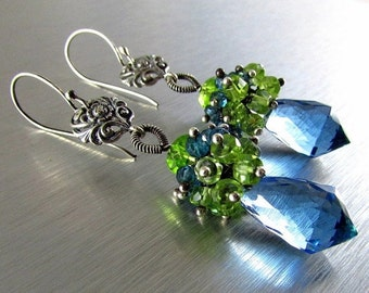 25% Off Summer Sale London Blue Quartz, London Blue Topaz and Peridot and Vesuvianite Cluster Sterling Silver Earrings
