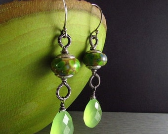 25% Off Summer Sale Lampwork and Green Chacedony Wire Wrapped Sterling Silver earrings