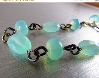 20 % Off Aqua Chalcedony Wire Wrapped Oxidized Sterling Bracelet, Chunky Silver Bracelet