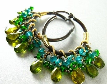 BIGGEST SALE EVER Gemstone Hoops, Green and Blue Gemstone Oxidized Silver, Wire Wrapped Hoops