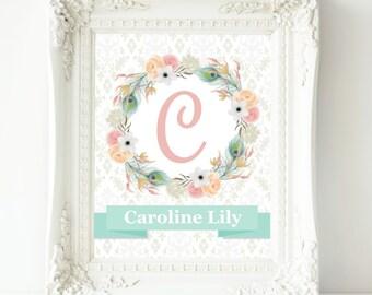 Personalized Nursery Print, Baby Girl Nursery Wall Decor, Nursery Wall Art, Girl Wall Art, Floral Monogram, Coral Pink Teal Nursery Artwork