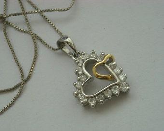 sterling silver cz heart pendant necklace   ( B 61 )
