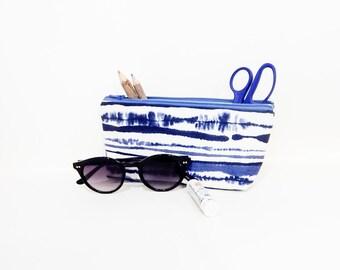 Fabric Zipper Pencil Case, Pouch, Fabric Pouch, Pencil Pouch, Zipper Case, Cosmetic Bag, Gift for Her, School Supply, Ikat Blue Zipper Case