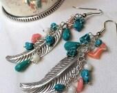 50% OFF SALE Bohemian Long Feather Earring Wire Wrap Gemstone Sterling Silver Turquoise Long Dangle Feather Earrings Hippie Boho Chic