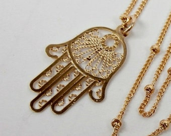 VALENTINES SALE Hamsa Pendant Necklace 14kt Gold Fill Hand Necklace Hand of Fatima Layering Necklace Minimalist Jewelry Delicate Dainty Last