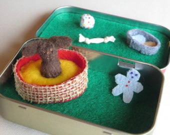 Fluffy dog miniature felt plush in Altoid tin play set- with food bowl - bed - and dog toys