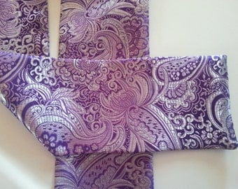 "Ascot or Carvat Purple and Silver metalic Floral Paisley print fabric 4"" x 57"" Mens Historial Wedding, cravat tie"