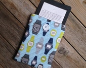Blue and Green Retro Watch Kindle Paperwhite Sleeve - Case - grey - cover - modern - graphic - Nerd - Geek