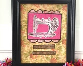 Give us this day framed mixed media original vintage sewing machine collage