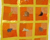 African Animals Crib Quilt for Babies or Toddlers, Hand Appliqued and Quilted