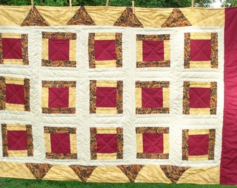 Twin Size Quilt, Crimson, Gold, and Beige, Hand Quilted