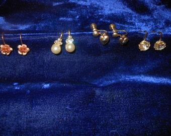 4 Pair of Vintage Screw Back Dainty Earrings