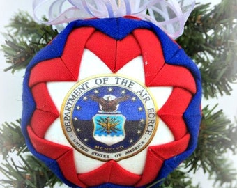 HANDMADE QUILTED Ornament /red, white and blue fabric /great gift idea/Handmade Quilted Ornaments (Ready to Ship)