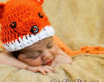Crochet fox hat/baby beanie/baby hat/fox baby hat/fox baby beanie/Newborn photo prop/Crochet baby fox beanie/ (Ready to Ship)