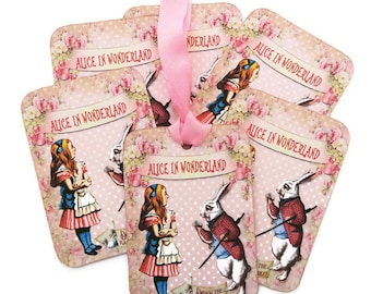 Alice in Wonderland Tags, Gift Hang Tags, Vintage Retro Tag, Tea Party Favor, White Rabbit, Fairytale Children's Party, Eat me Drink me