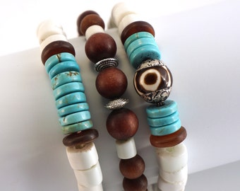 3 Strand Bracelet Set   Stacking Bracelets   Turquoise and Brown Jade   Beachy Bracelet Set   Special Price Set