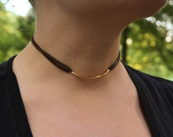 Choker with Gold Bar   Leather Choker with Gold   Leather Choker Necklace