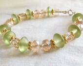 Light Green and Gold Beaded Bracelet