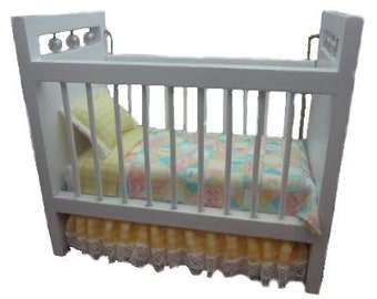 Miniature One Inch Scale Yellow Teddy Bear Crib