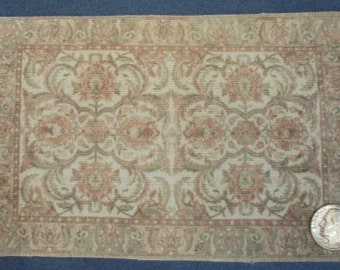 Miniature, peach/green/ivory, One inch scale, Printed rug for the dollhouse