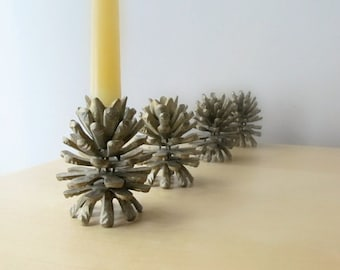 pair solid brass pinecone candle holders rustic cabin candlesticks