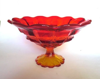 Fenton Glass Valencia Orange Large Footed Bowl