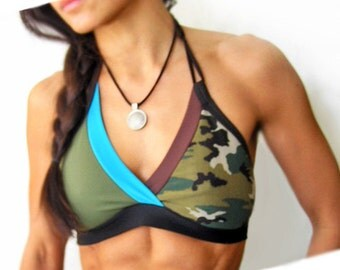 Camo Kick Sports Halter Bra