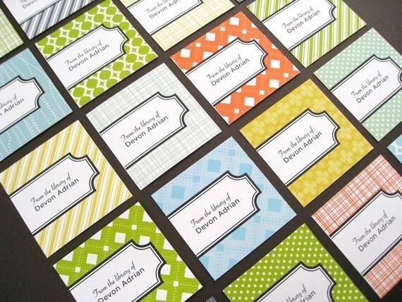 custom bookplate stickers - assorted pattern design