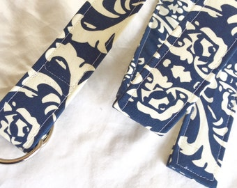 D Ring Belt, Womens Belt, navy and white pattern, size  M/L, ready to ship