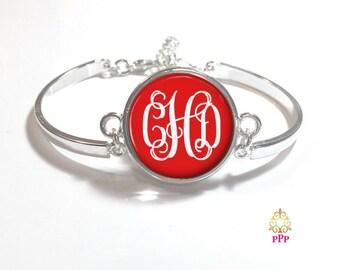 Red Monogram Bracelet, Monogram Bangle,  Monogram Jewelry, Bridesmaid Gift, Personalized Bracelet, Mother's Day Gift - Style 331