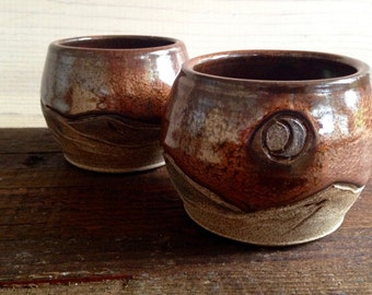 Mountain + Moon Cups (Pair) - Wine - Whiskey - Sake - Espresso - Juice - Rust - Moon - Wanderlust - Desert Dreaming - Hand carved - Ceramic