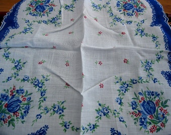 Large Unused Vintage Hanky With Blue Floral Design, Blue Scalloped Edge, Paper Label Still Attached
