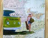 "ON SALE Green VW Westy Musician & Nova Scotia, Pei, New Brunswick Map Collage on 6""x6"" wood block by Daina Scarola"