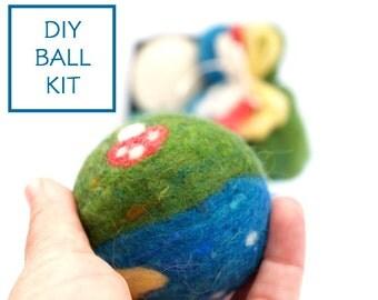 Needle Felting Kit Beginner - Felted BALL Kit - Wool Woodland Dryer Ball Kit - DIY Craft Kit - Children - Waldorf Kids Toy Kit